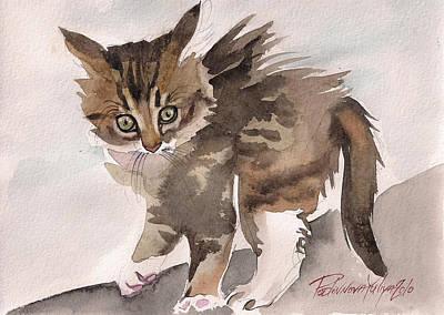 Gray Tabby Cat Painting - Wild Thing by Yuliya Podlinnova