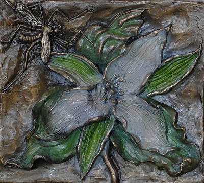 Sculpture - Wild Trillium And Cranefly  by Dawn Senior-Trask