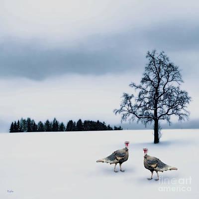 Wild Turkey Mixed Media - Wild Turkey Hens by KaFra Art