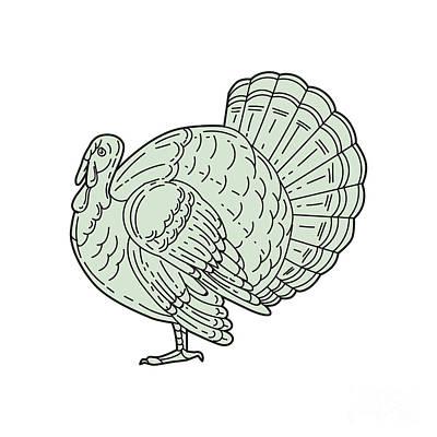 Wild Turkey Side Mono Line Art Print
