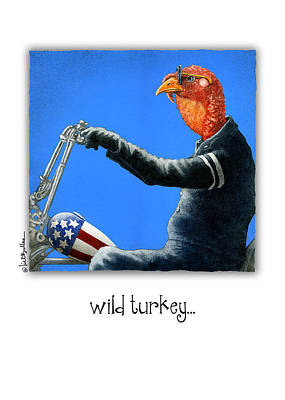 Harley Davidson Motorcycle Painting - Wild Turkey... by Will Bullas