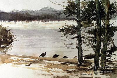 Amble Painting - Wild Turkeys by Monte Toon