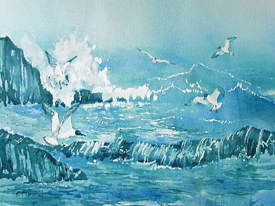 Painting - Wild Waves With Gulls by Glenn Marshall