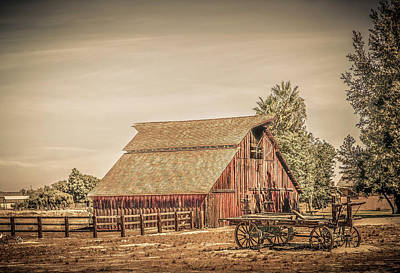 Photograph - Wild West Barn And Hay Wagon by Gene Parks