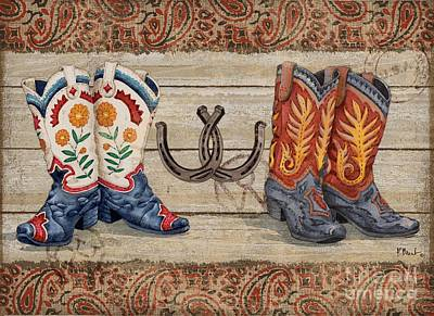 Cowgirl Boots Painting - Wild West Boots Horizontal by Paul Brent