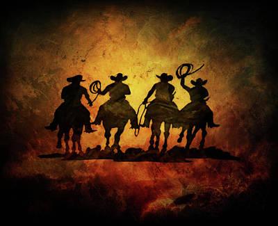Digital Art - Wild West Cowboys by Lilia D