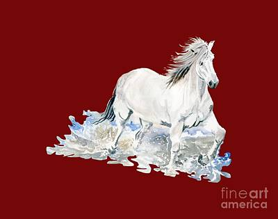 Wild Horses Painting - Wild White Horse  by Melly Terpening