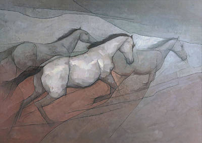 Abstract Equine Painting - Wild White Horses by Steve Mitchell