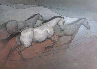 Wild White Horses Art Print