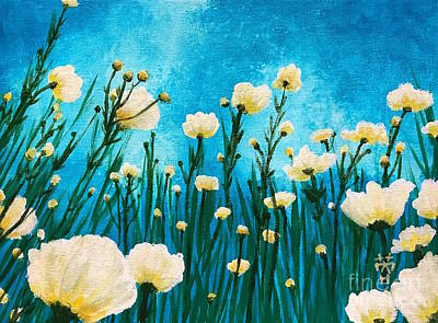 Painting - Poppies In The Blue Sky by Wonju Hulse