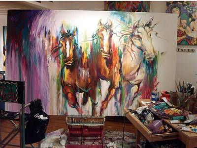 Wild Wild Horses Art Print by Heather Roddy