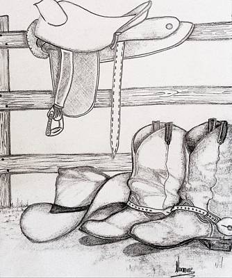 Fence Drawing - Wild Wild West by Nermine Hanna