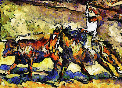 Mixed Media - Wild Wild West Van Gogh Style Expressionism by Georgiana Romanovna