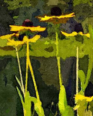 Abstracted Coneflowers Digital Art - Wild Yellow Coneflowers 12 by Don Berg