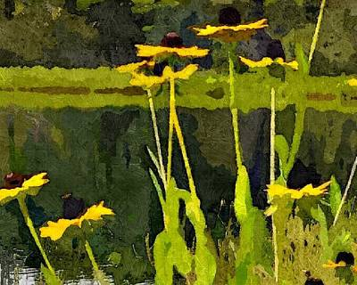Abstracted Coneflowers Digital Art - Wild Yellow Coneflowers 20 by Don Berg