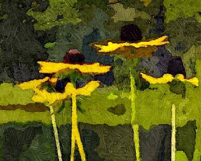 Abstracted Coneflowers Digital Art - Wild Yellow Coneflowers 26 by Don Berg