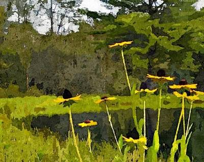 Abstracted Coneflowers Digital Art - Wild Yellow Coneflowers 31 by Don Berg
