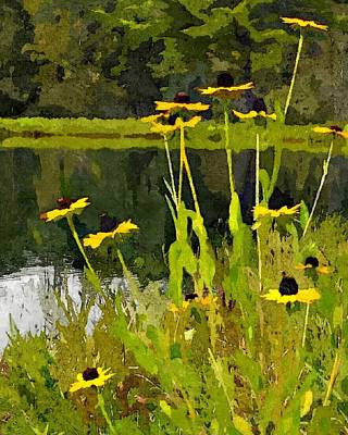 Abstracted Coneflowers Digital Art - Wild Yellow Coneflowers 7 by Don Berg
