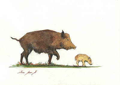 Painting - Wildboar Piglet by Juan Bosco