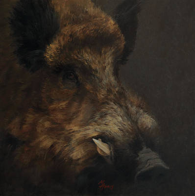 Painting - Wildboar Portrait by Attila Meszlenyi