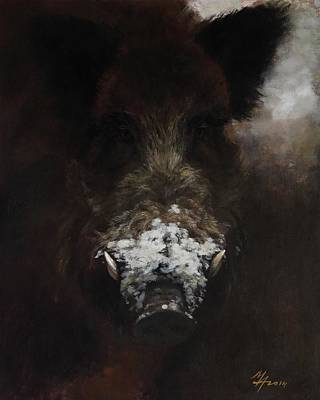 Painting - Wildboar With Snowy Snout by Attila Meszlenyi