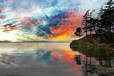 Wildcat Cove In Washington State At Sunset Art Print by David Gn