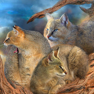 Giclee Mixed Media - Wildcat Day by Carol Cavalaris