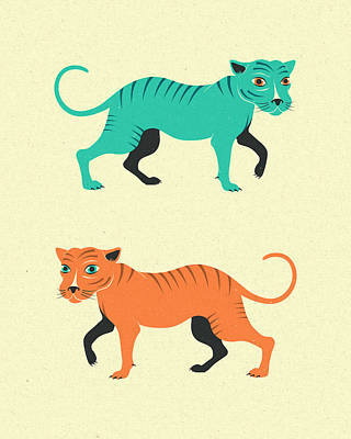 Tiger Digital Art - Wildcats by Jazzberry Blue
