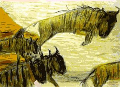 Best Emerging Artist Drawing - Wildebeest Great Migration by Larry E Lamb