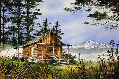 Williamson County Painting - Wilderness Cabin by James Williamson