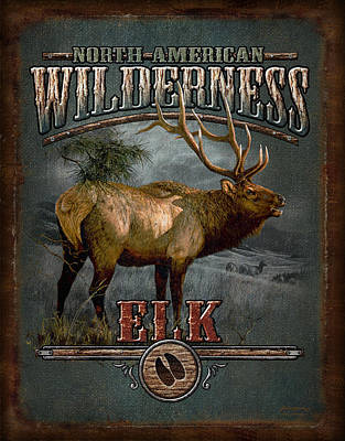 Pine Trees Painting - Wilderness Elk by JQ Licensing