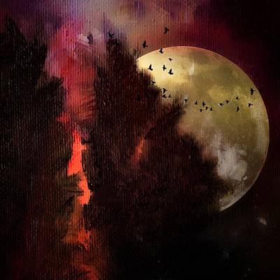 Painting - Wilderness Moon Landscape by Michele Carter