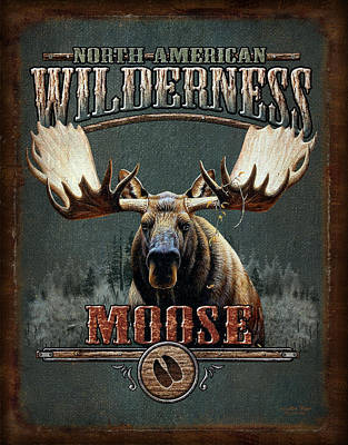 Antlers Painting - Wilderness Moose by JQ Licensing