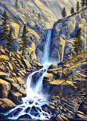 Rushing Water Painting - Wilderness Waterfall by Frank Wilson