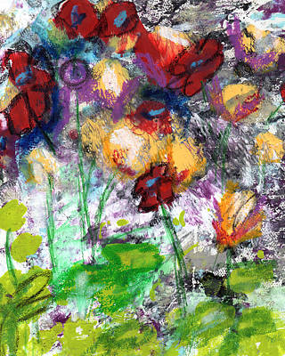 Abstract Landscape Painting - Wildest Flowers- Art By Linda Woods by Linda Woods