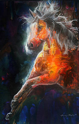 Art Print featuring the painting Wildfire Fire Horse by Sherry Shipley