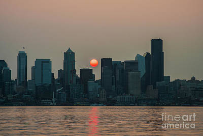 Skylines Royalty-Free and Rights-Managed Images - Wildfire Haze At Sunrise Seattle by Mike Reid