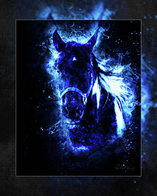 Digital Art - Wildfire Horse Of Dreams Blue 1b by Walter Herrit
