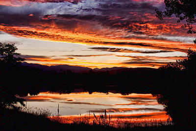 Striking-.com Photograph - Wildfire Sunset Reflection Image 28 by James BO  Insogna