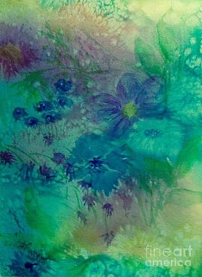 Painting - Wildflower Abstract - Blue Green by Ellen Levinson