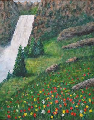 Photograph - Wildflower And Waterfall by David Frankel