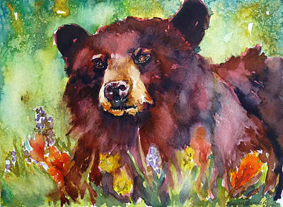 Wildflower Bear Art Print by P Maure Bausch