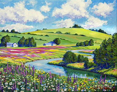 Spring Scenery Painting - Wildflower Fields by David Lloyd Glover