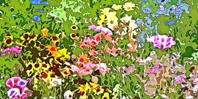 Pink Flower Digital Art - Wildflower Fusion Abstract by Linda Mears