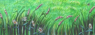 Pink Flower Painting - Wildflower Garden by Linda Mears