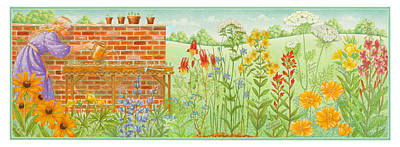 Forget-me-not Painting - Wildflower Gardening by Lynn Bywaters