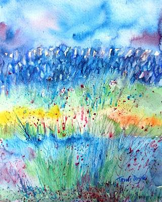 Wildflower Meadow And Stone Wall Inisheer  Art Print by Trudi Doyle