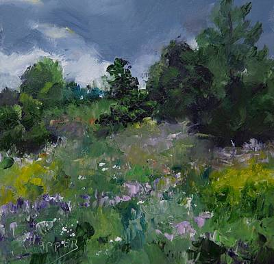 Stormy Weather Painting - Wildflower Meadow by Carol Hopper
