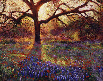 Spring Scenery Painting - Wildflower Meadow by David Lloyd Glover