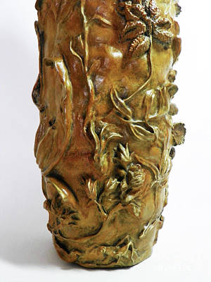 Sculpture - Wildflower Promise - Bronze Vase - Detail 2 by Dawn Senior-Trask
